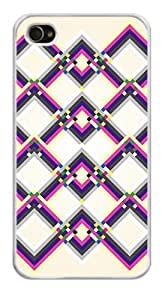 Colorful Geometric Square Pixel Pattern Snap-On Cover Hard Plastic Case for iPhone 5s (White)