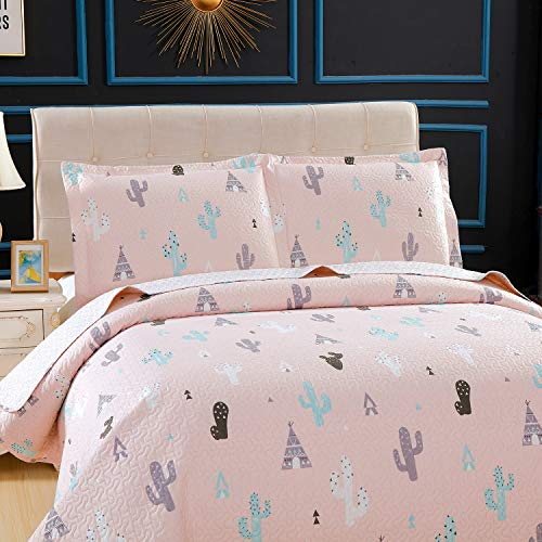 Kids Girls Cactus Quilt Set Twin Size Pink Bedding Quilt Soft Lightweight Summer Thin Bedspread Coverlet All Season Reversible Bed Set with Sham for Kids Teens Adults (1 Quilt+2 Pillow Sham)