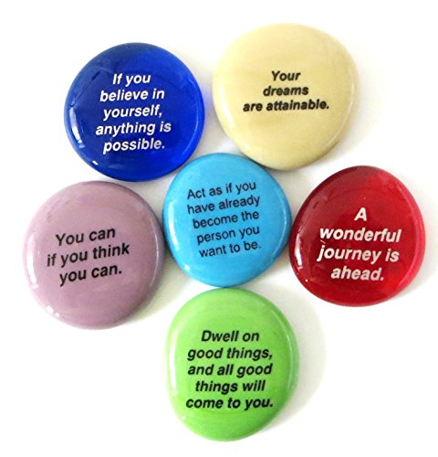 Yoga Rocks - Lifeforce Glass Destiny Stones I, Create Your Own Future With These Encouraging and Motivational Messages on Glass Stones