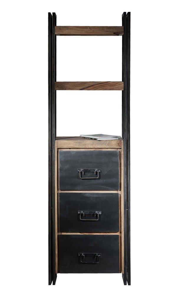 SIT-Möbel 9297-01 Regal Panama Shesham natur mit schwerem Altmetall und Gebrauchsspuren, 60 x 40 x 200 cm, 3 Schubladen, 2 Böden