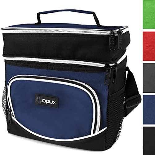 OPUX Insulated Dual Compartment Lunch Bag, Double Deck Lunch Box for Men, Women | Leakproof Lunch Tote Cooler for Work, Office, School | Soft Reusable Lunch Pail, Fits 8 Cans (Navy) (Lunch Box Plastic Insert)