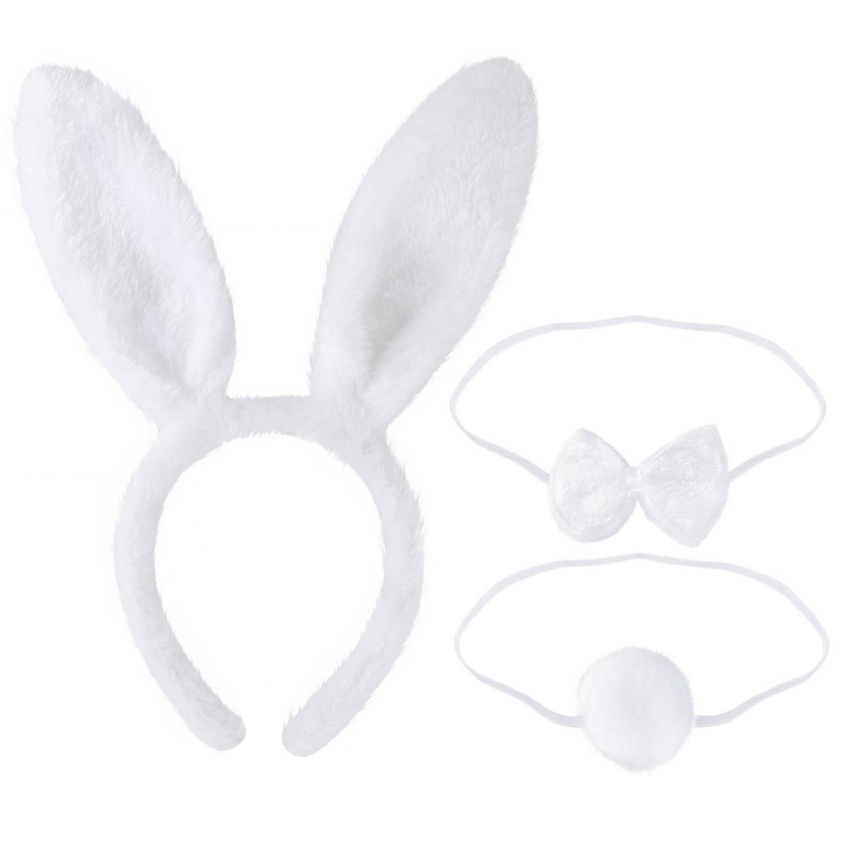 Tinksky Bunny Cosplay Set Coniglio Costume Accessorio Carino orecchie copricapo della coda Bow Tie per il partito Costume Cosplay, confezione da 3 (bianco)