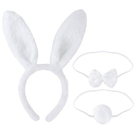 LUOEM Bunny Kostüm-Set mit Haarreif Fliege Schwanz für Kinder Erwachsene Party Cosplay Weihnachten Kostüm 3 Stücke (Weiß)