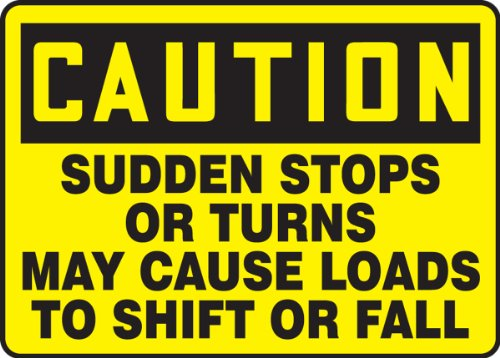 1/8 Shift (Sudden Stops Or Turns May Cause Loads To Shift Or 10X14 .125 Polycarbonate Sign)