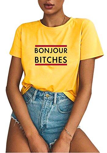 Verano Suelto T Hipster Manga Corta Mujer Señoras Letter Casual shirt Blackmyth Amarillo Redondo Tee Aqn8pEwn