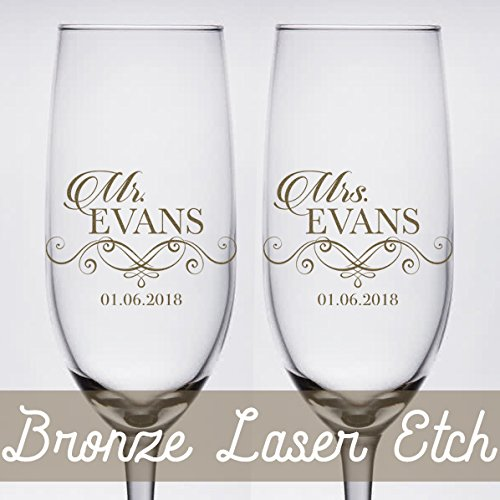 Pair of Bronze Etched Personalized Wedding Toasting Glass...
