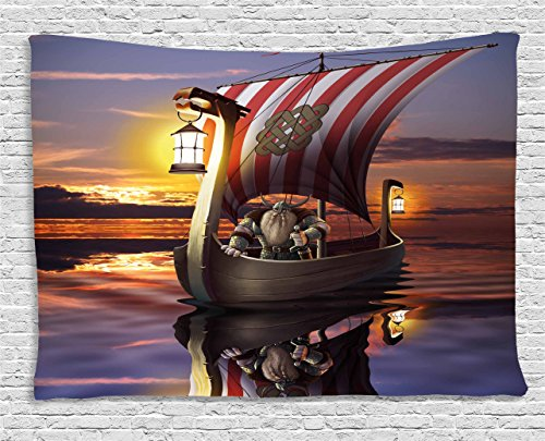 Viking Wall Hanging Tapestry by Ambesonne, A Warrior with Sword and Helmet in Ship Evening Twilight Barbarian Nordic Scandinavian Print, Bedroom Living Room Dorm Decor, 80 W X 60 L Inches, Multi