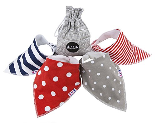 Baby Bandana Drool Bibs for Boys & Girls Unisex By quackbabyquack with FREE Carry Pouch 100% cotton by Supportiback
