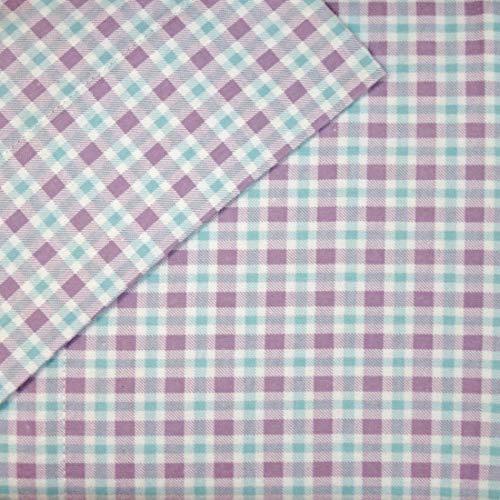 Cuddl Duds Queen Flannel Sheet Set 4 Piece 100% Cotton Deep Pocket Heavyweight Bed Sheets - Purple Blue Check