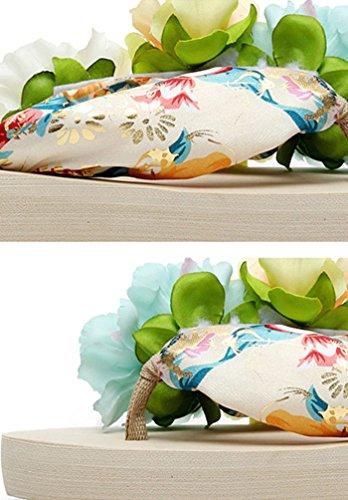 Tongs Sandales Filles Beige Chaussures Plateforme été YOUJIA amp; Fleurs Femme Plage de Boho twWHAARFBq
