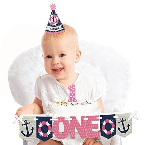 Big Dot of Happiness Ahoy - Nautical Girl - 1st Birthday Girl Smash Cake Decorating Kit - High Chair (Everything One Girl Cone Hats)