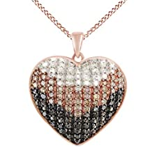 White, Brown & Black Natural Diamond Heart Pendant Necklace In 14k Gold Over Sterling Silver (0.75 Cttw)