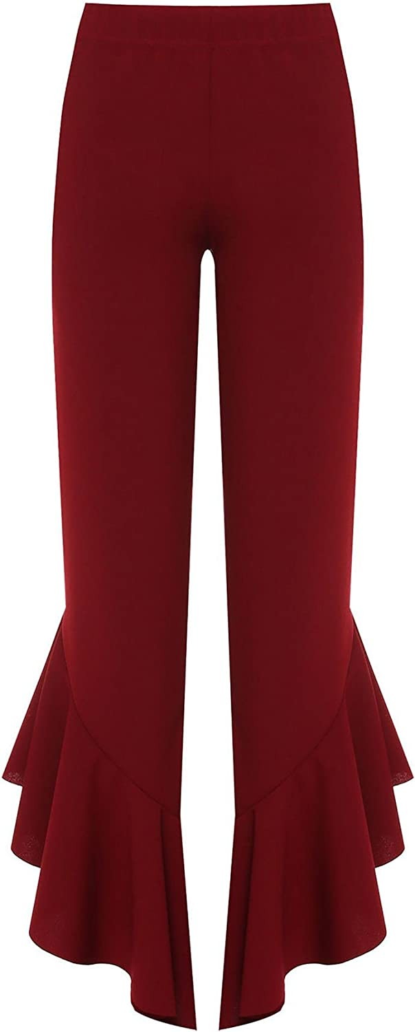 RIDDLEDWITHSTYLE Womens Flared Frill Asymmetric Hem Plain and Check Trousers Ladies Stretch Pants