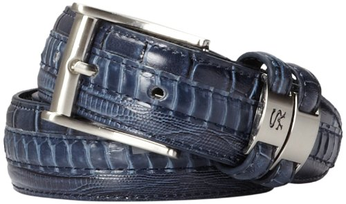 Stacy Adams Men's 35mm Genuine Snakeskin With Leather Embossed Crocodile And Lizard Belt, Blue, 44
