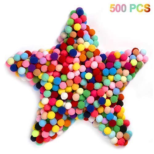 Cuttte 500pcs 1 inch Pom Poms for DIY Creative Crafts Decorations, Party Decor, Card Decor, Gumball Machine Costume, Color Matching Pom Pom Drop, Best Cat Toy, Assorted Colors ()