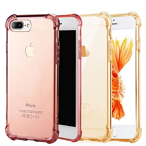 iPhone 7/8 Plus Case [2 Pack] CaseHQ Transparent Slim Thin Flexible TPU Extra Protection Rubber Skin Premium Soft Silicone Rubber Gel Slim-Fit Scratch Resistant(Rosegold+Golden iPhone 7/8 Plus Case)
