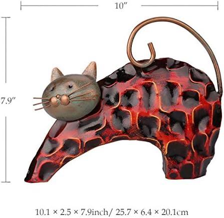 TOOARTS - Adorno forma de Gato para la Decoración del Hogar Habitación Salón Bar Oficina Barra (Artesanía Decorativa de Hierro)