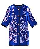 Zago Women's Classic Embroidered Coat Autumn Winter Warm Tops Blue XS