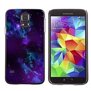 QCASE / Samsung Galaxy S5 SM-G900 / nebulosa azul púrpura agujero negro estrellas universo / Delgado Negro Plástico caso cubierta Shell Armor Funda Case Cover