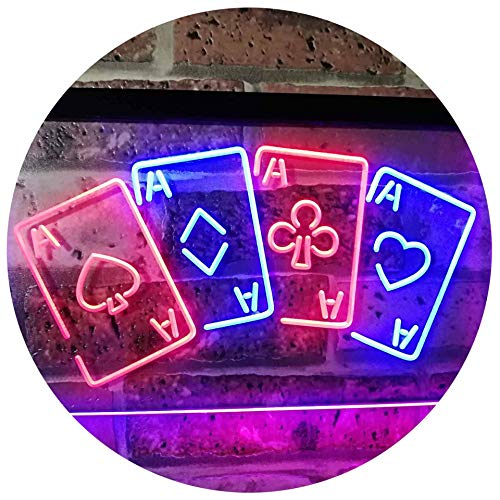 (Four Aces Poker Casino Man Cave Bar Dual Color LED Neon Sign Red & Blue 16