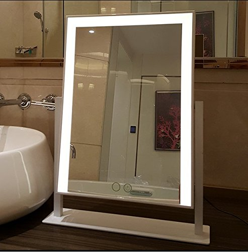 Large Makeup Mirror with Big LED Lights Touch Screen Vanity Mirror Adjustbale Brightness (Black) Kayla_Lan