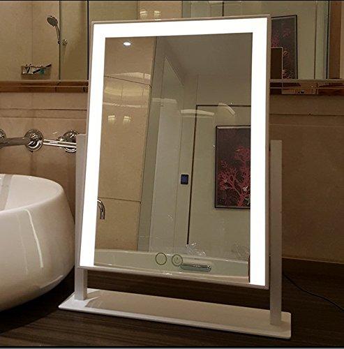 Large Makeup Mirror with Big LED Lights Touch Screen Vanity Mirror Adjustbale Brightness (Black) Kayla_Lan