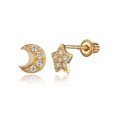 97fd865c0 Amazon.com: 14k Yellow Gold Moon Star Cubic Zirconia Children Screwback  Baby Girls Stud Earrings: Jewelry