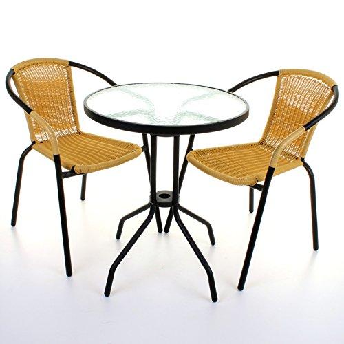 Marko Outdoor 3 Piece Bistro Set Garden Patio Tan Wicker Rattan Outdoor Furniture Table Chairs