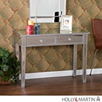 Holly and Martin Montrose Mirrored 2-Drawer Console Table in Painted Silver Wood Trim