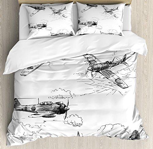 Airplane Decor Queen Size Duvet Cover Set by Ambesonne, World War Aircraft Army German Pilot Veteran Aggression Historic Vehicle Illustration, Decorative 3 Piece Bedding Set with 2 Pillow Shams by Ambesonne