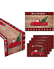 Christmas Decoration Set of 6, Festival Theme Red Truck Table Runnerx1 doormatx1 Placematsx4, Complete Holiday Decor Set for Kitchen Coffee Table Family Dinners Dresser Indoor Outdoor Party Setting