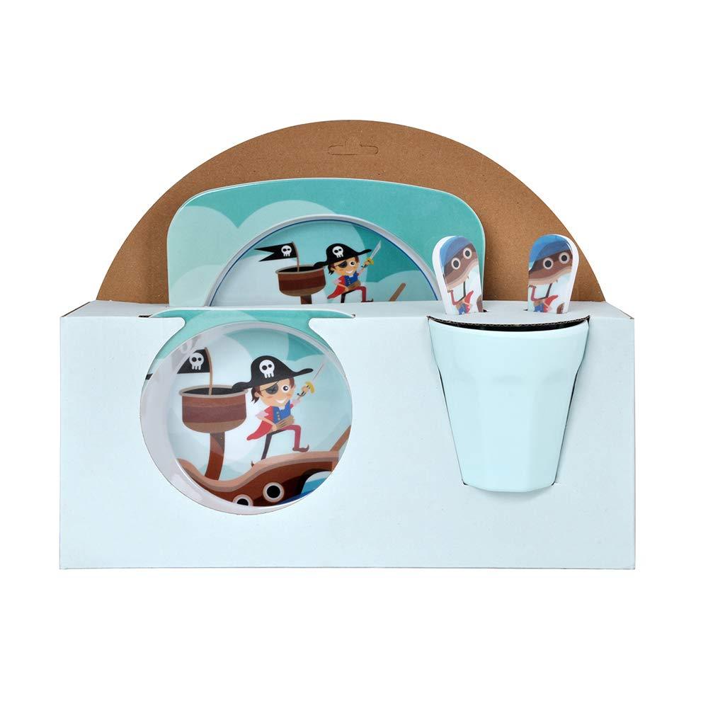 Piraten Design Furany 5 Teiliges Kindergeschirr Set aus Melamin Piraten Design M/üslischale Kinderteller Trinkbecher Einhorn Design