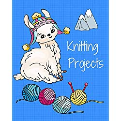 Knitting Projects: Graph Paper and Blank Pages Notebook,Knitting Patterns Llama Book