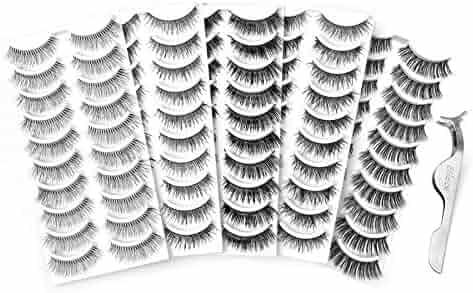 83e7164af4a Eliace 50 Pairs 5 Styles Lashes Handmade False Eyelashes Set Professional Fake  Eyelashes Pack,10