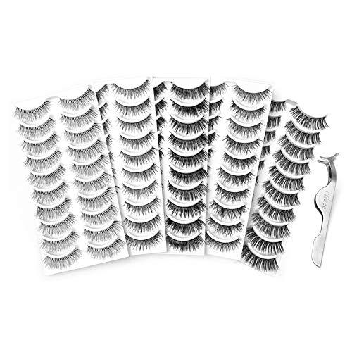 Eliace 50 Pairs 5 Styles Lashes Handmade False Eyelashes Set Professional Fake Eyelashes Pack,10 Pairs Eyes Lashes Each Style,Very Natural Soft and Comfortable,With Free EyeLash Tweezers ()