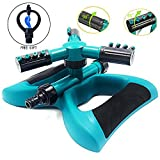 Gesentur Garden Sprinkler, Automatic 360 Rotating Adjustable Lawn Watering Sprinkler with 3600 SQ FT Coverage Premium Quality Lawn Irrigation System/Leak Free Design Durable 3 Arm Sprayers