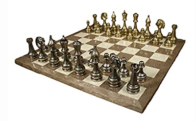 Worldwise Imports Staunton Metal Chessmen and Grey Briar Chessboard with 4in King