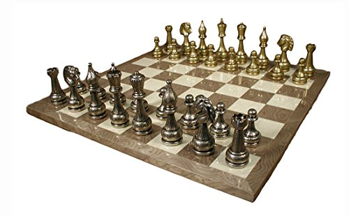 Worldwise Imports Staunton Metal Chessmen y Grey Briar Chessboard with 4in King