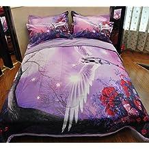 Luxury 3d oil painting Purple comforter set 3pcs queen size