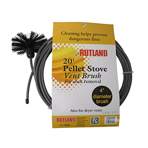 Rutland 4-Inch Pellet Stove/Dryer Vent Brush with 20-Feet Handle (Rutland Stove)