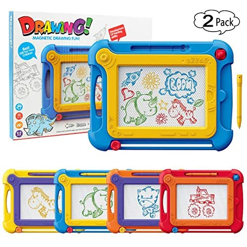 2 Pack Colorful Magnetic Drawing Doodle Board Toys Gifts for Kids Toddlers Ages 3 4 5 6 Years Drawing Learning Replaces Painting ,Sketch Drawing Pad for Toddlers