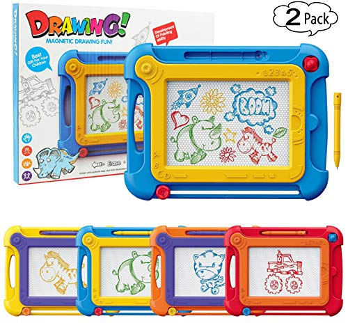 Etch A Sketch Magnetic Drawing Pad Magna Doodle Board for Toddlers Kids, 2 Pack Colorful Drawing Board Pad Toys Gifts for Writing,Sketching,Painting, Travel Size Gaming Pad, Educational Learning by ziwing