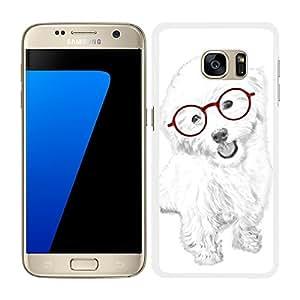 funda carcasa para Samsung Galaxy S7 diseño perro blanco con gafas rojas borde blanco
