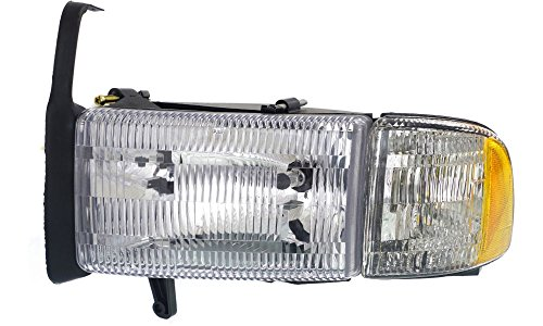 Evan-Fischer EVA13572014011 New Direct Fit Headlight for DODGE FULL SIZE P/U 94-02 LH Assembly Halogen w/ Corner Light Old Body Style (99-02 w/o Sport Pkg.) Driver Side Replaces Partslink# CH2502101