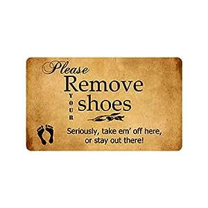 Please remove your shoes diseño divertido decoración de interior/al aire libre alfombra Felpudo 30(L) X18(W) pulgadas antideslizante lavable a máquina decoración para el hogar