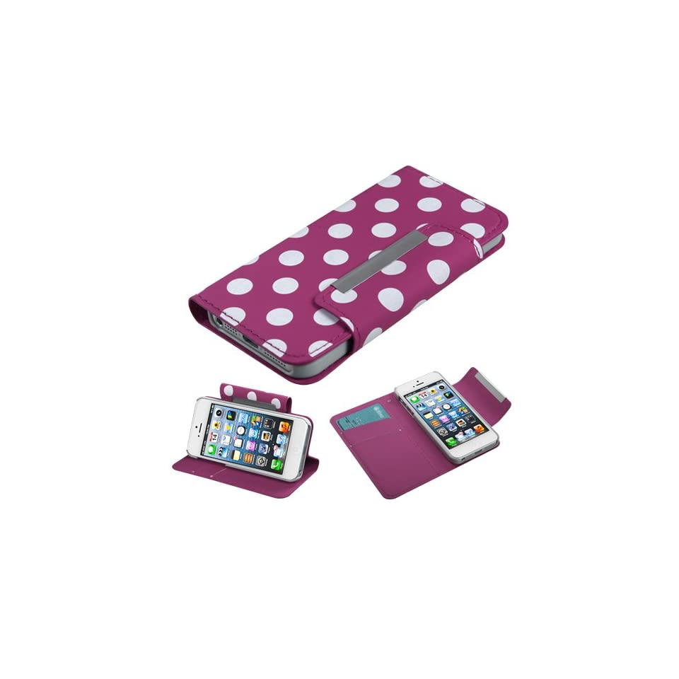 Fits Apple iPhone 5 Hard Plastic Snap on Cover White Polka Dots /Hot Pink Frosted Book Style MyJacket Wallet (with card slot) (758) AT&T, Cricket, Sprint, Verizon (does NOT fit Apple iPhone or iPhone 3G/3GS or iPhone 4/4S)