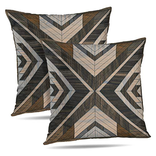 Tyfuty Set of 2 18 x 18 inch Throw Pillow Covers Wood Shaped Geometric Wooded Tile Geometry Antique Backdrop Board Brown Pillowcases Cushion Use for Living Room Bed Sofa