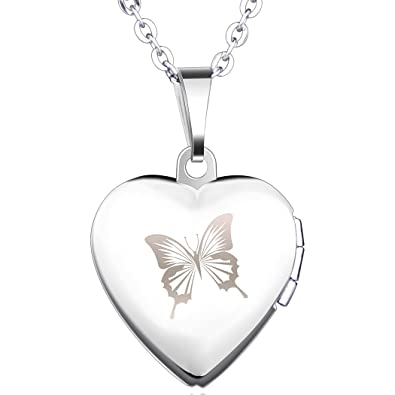 Yumilok stainless steel blue butterfly open heart photo locket yumilok stainless steel blue butterfly open heart photo locket memory pendant necklace for womengirls aloadofball Gallery
