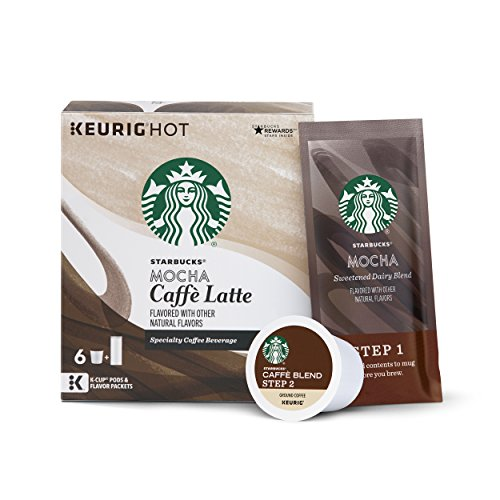 (Starbucks Mocha Caffè Latte Medium Roast Single Cup Coffee for Keurig Brewers,1 Set (K-Cup pods and flavour packets), 6 Count, Pack of 4)