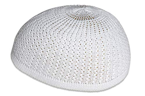 - Elastic Kufi Hat Skull Cap with Wavy Threading in Multiple Designs and Colors (White)